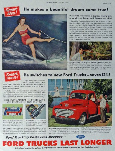 Ford Trucks, 40's Full Page Color print ad. Illustration, painting (beautiful woman in Cypress Gardens) Original Vintage 40's Magazine Artstore link [www.amazon.com/shops/ads-thru-time]