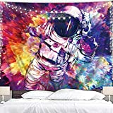 Homewelle Astronaut Tapestry 59Wx51L Inch Cool Trippy Spaceman Galaxy Hippie Fantasy Fun Dope Retro Space Outer Planet Boys Guys Bohemian Aesthetic Wall Hanging Bedroom Living Room Dorm Decor Fabric