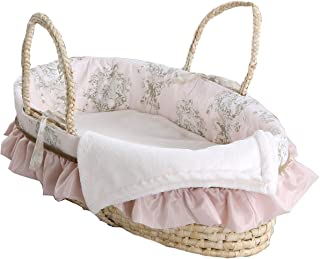 Cotton Tale Designs Moses Basket, Lollipops & Roses, Pink/Cream/Tan