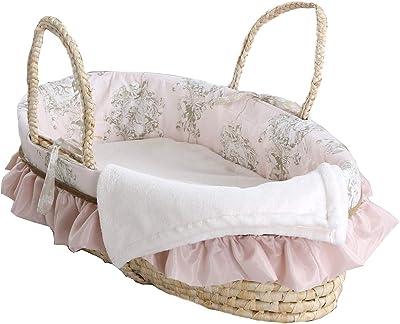 Cotton Tale Designs Lollipops & Roses Moses Basket, Pink, Cream, Tan