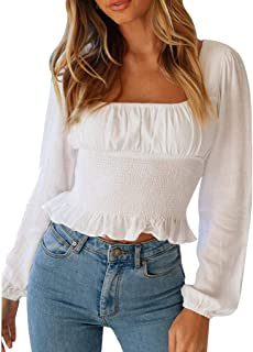 Ladies Girls Women Off Shoulder Tops Crop Top Long Sleeves Ruffle Hem Blouse Smocked Blouse Shirt Tunic