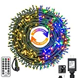 Haynery Color Changing Christmas String Lights Outdoor Indoor 11 Modes, 108FT 300 LEDs Warm White Multi Color Fairy Lights, End to End Connectable Waterproof Christmas Tree Lights with Timer Remote