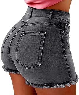ThusFar Women Push Up Jean Shorts 5 Pockets High Waisted Stretch Fitted Frayed Raw Hem Denim Short Jeans