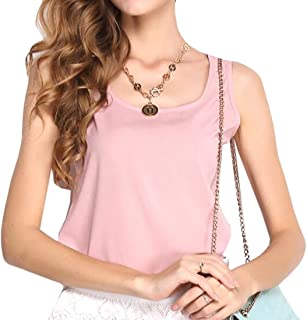 MK988 Womens Slim Fit Round Neck Solid Color Chiffon Tank Tops Shirts Blouse