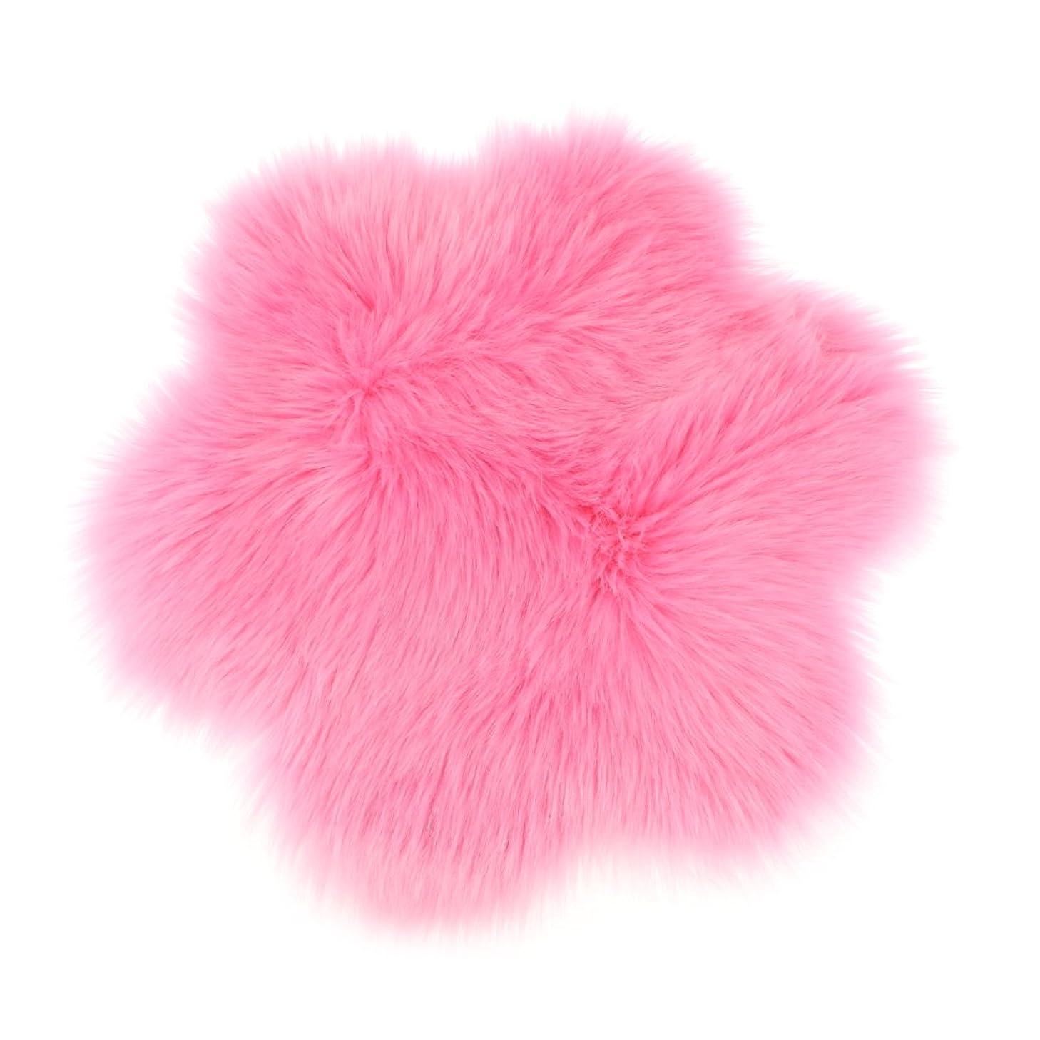 キャンパス必要条件尊敬するFLAMEER 人工シープスキンシャグ敷物カーペット毛皮のようなヨガクッション瞑想マット45×45センチ - ピンク