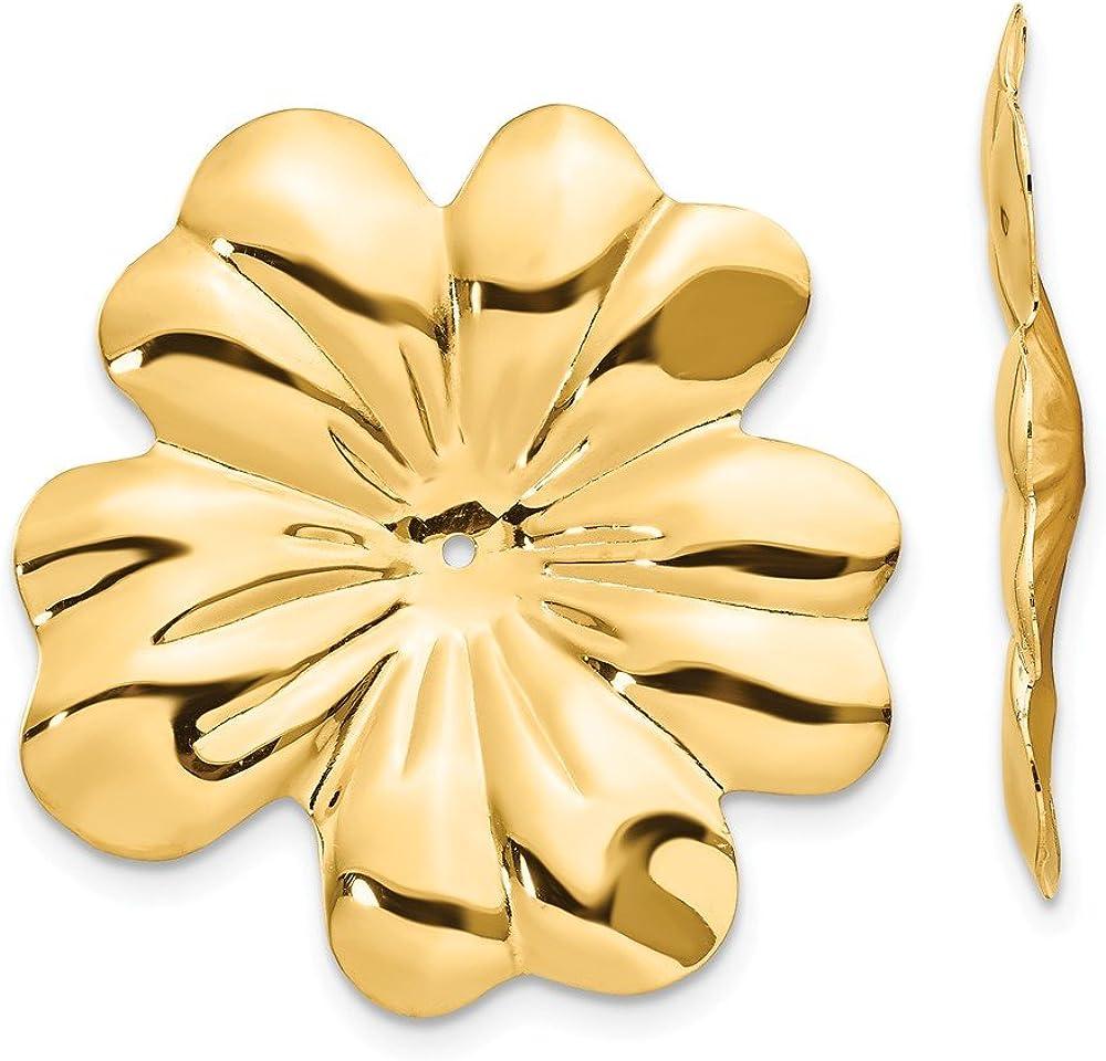 14K Polished Floral Earring Jackets