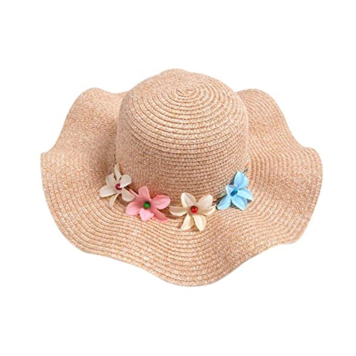 Freedi Sun Straw Hat Toddler Baby Girls Large Wide Brim Travel Beach Beanie  Cowboy Cap Cute 9c6aee9ffa92