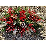 TenWaterloo 18 Inch High Outdoor Artificial Christmas Poinsettia Arrangement- Red Plaid Flowers, Red, Silver and White