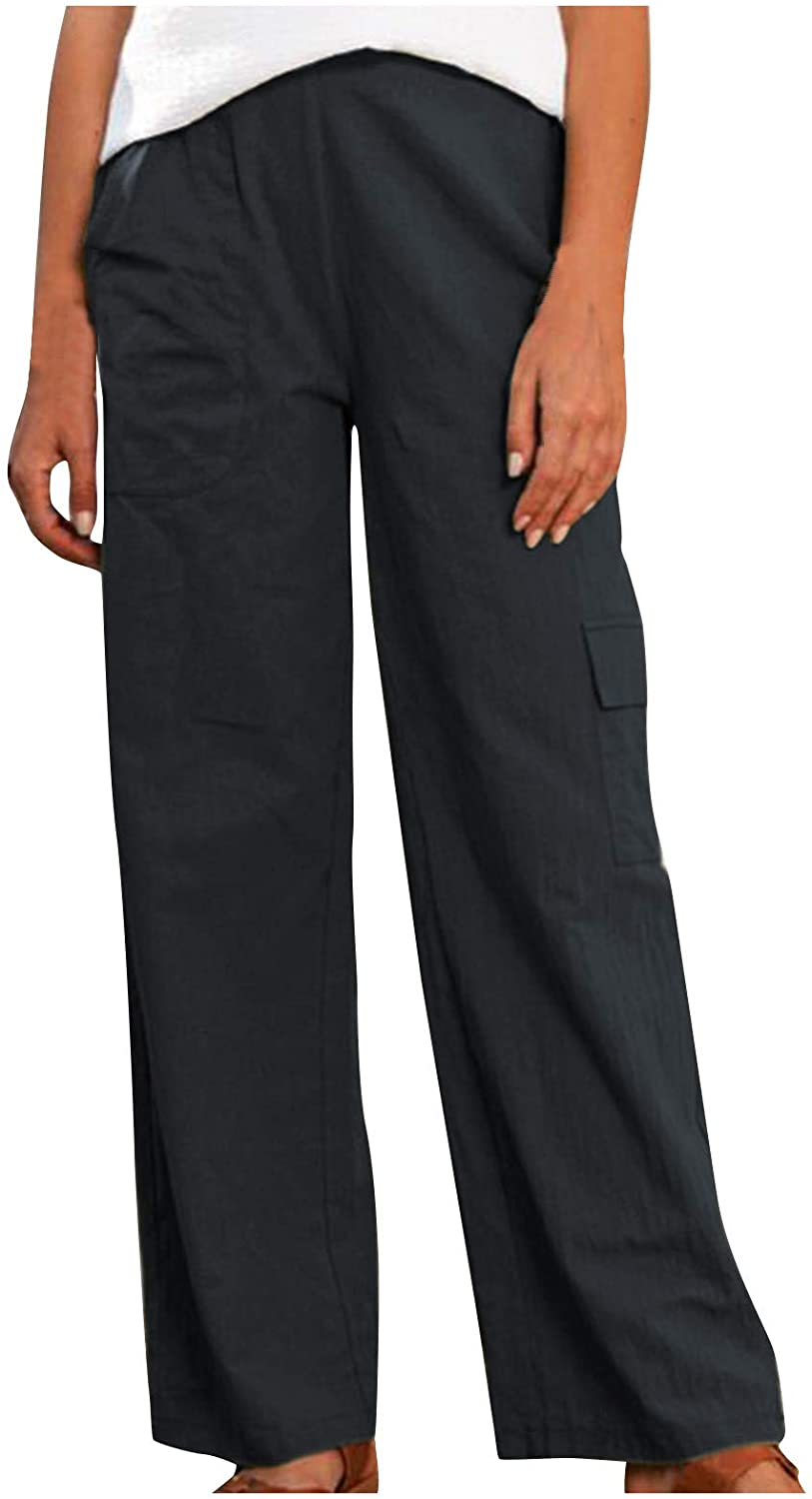 Womens Plus Size Loose Linen Pants Solid Color Wide Straight Leg Comfy Casual Pants with Multi-Pockets