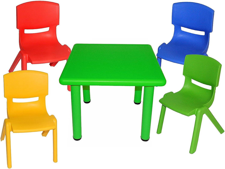 Alles-meine  GmbH 5 TLG. Set  Sitzgruppe - Tisch + 4 Kinderstühle - BUNT - stapelbar   kippsicher   bis 100 kg belastbar - für INNEN & AUEN - Plastik   Kunststoff - Stuhl Stüh..