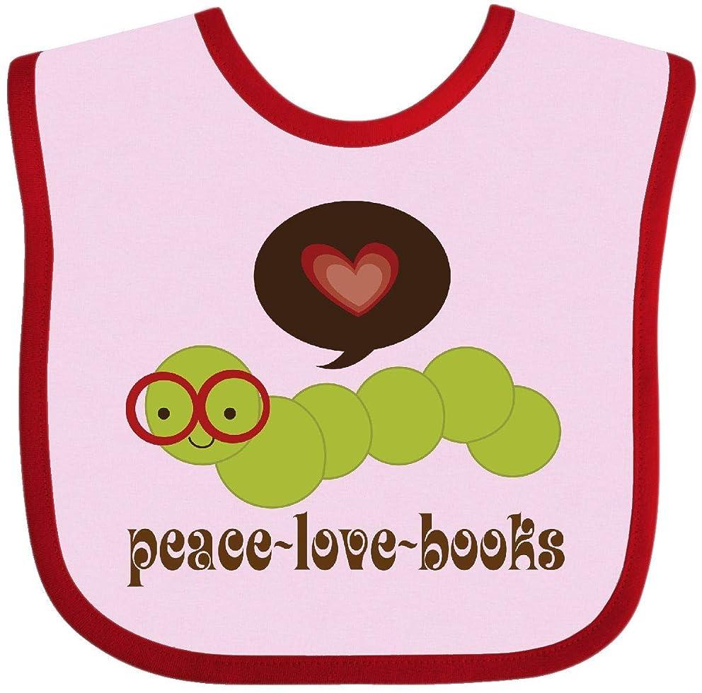 Inktastic - Peace Love Books Bookworm Baby Bib 6410