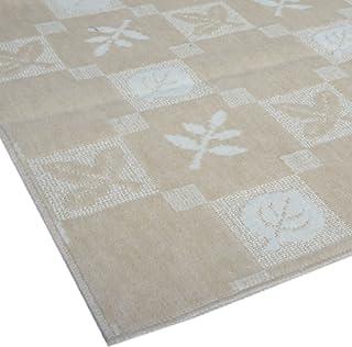 日本製/不織布貼/明るくかわいいリーフ柄のカーペット ベージュ色 江戸間6畳