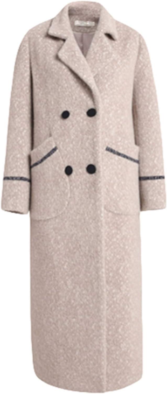 PENER Women's New VNeck Cashmere Coat Long Trench Coat Simple Woolen Coat