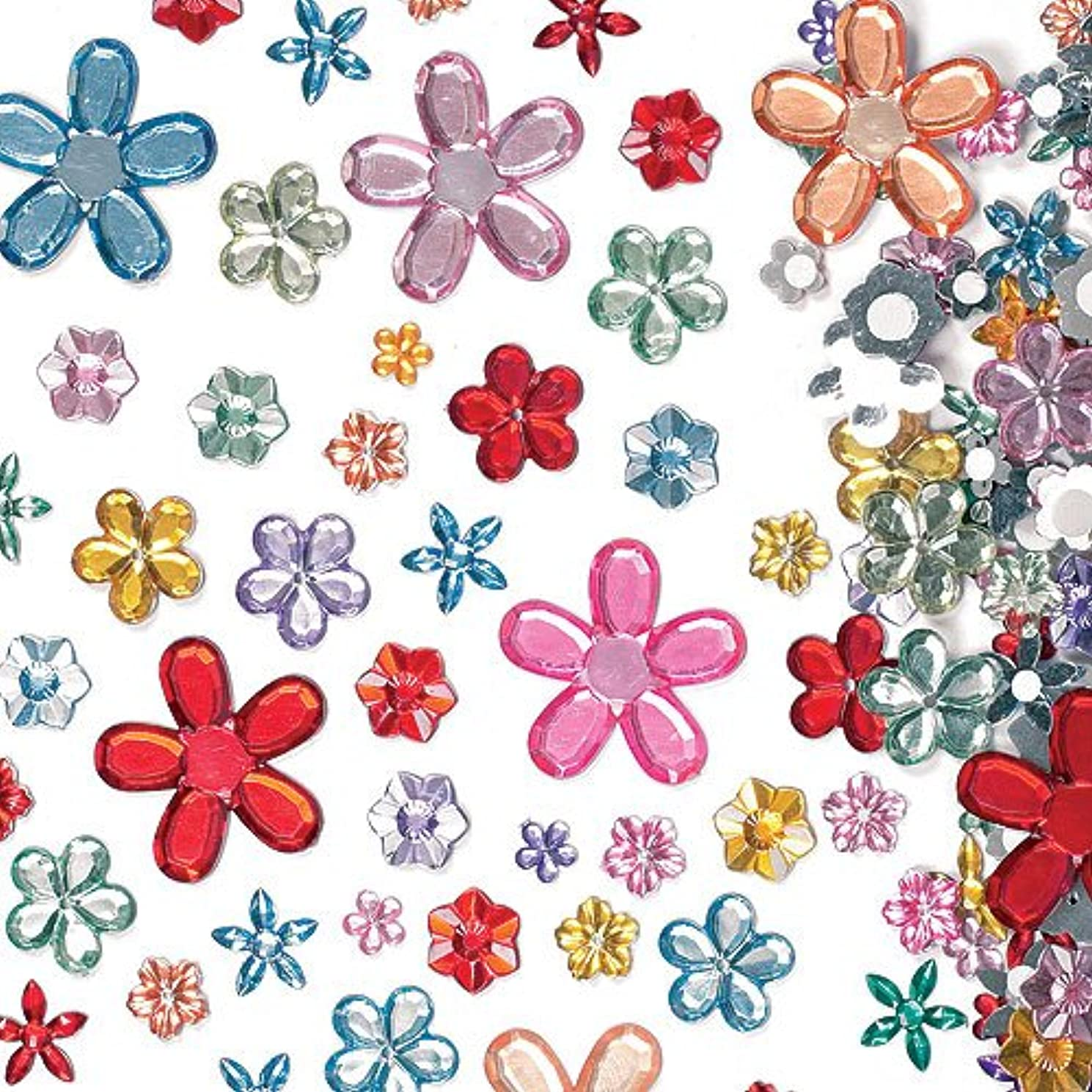 Baker Ross Self-Adhesive Acrylic Flower Jewels Assorted Designs and Sizes for Collage, Card Making, Children's Arts & Crafts (Pack of 180)
