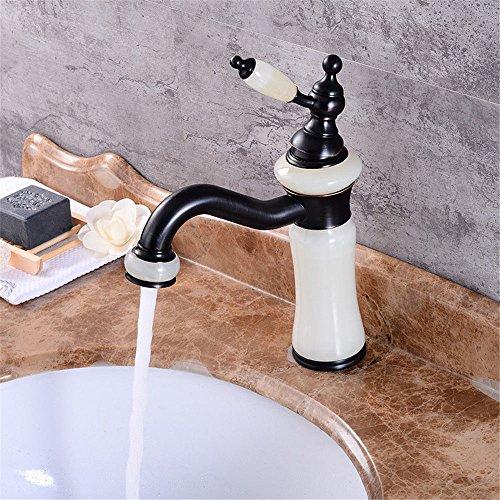 Water Tower - Grifo mezclador de válvula de latón macizo sin plomo y cerámica, grifo mezclador de cascada, grifo de cobre completo para lavabo caliente y frío con un solo agujero chapado en oro