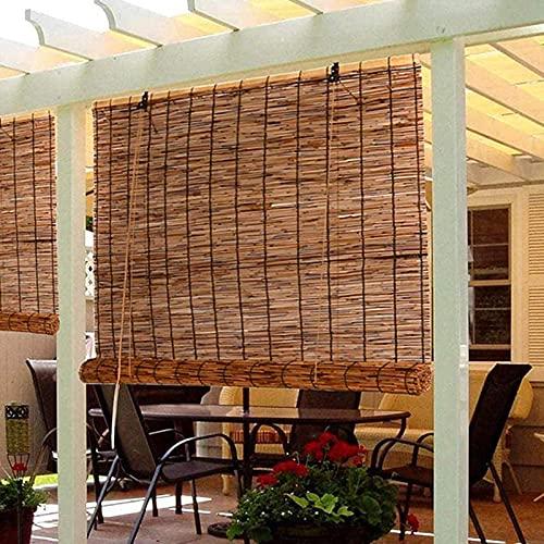 Carbonization Schilf Vorhang Rollo Bambus Raffrollo Bambusrollo,Strohjalousien,Wasserdicht,Atmungsaktiv,Schatten,Sonnenschutz,Wärmedämmung Jalousien,für Außen Innen Pergola (140x180cm/55x71in)