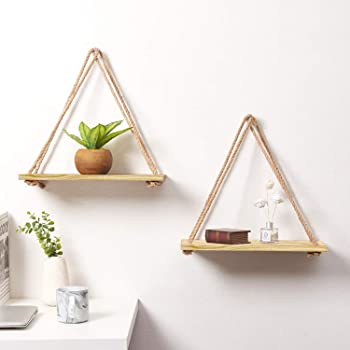 VAH AH Wall Hanging Wood Floating for Wall Rustic Rope Shelves Plant Shelf (Set of 2)
