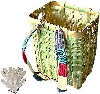 竹製背負いかご 角型 大 (軍手付き)