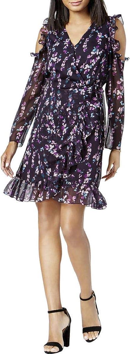 Maison Jules Womens Floral Print Cold Shoulder Cocktail Dress