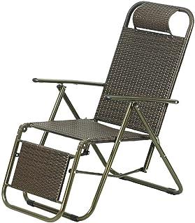 L@LILI Chaise Longue Adulte Chaise en Osier d'été Chaise Pliante pour la Pause déjeuner Chaise de Bureau Portable Chaise d...