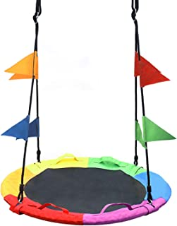 Sponsored Ad - SURPCOS Saucer Swing for Kids Outdoor with Handle - Round Outdoor Swings for Swingset - Large Tree Swings f...