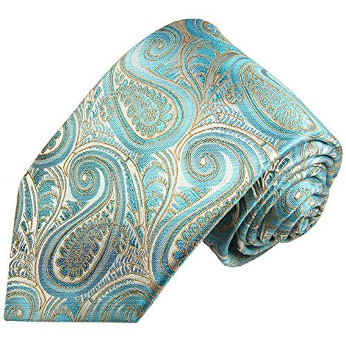 Paul Malone Cravate homme turquoise gris paisley 100% soie