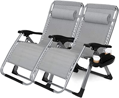 """22.8"""" Oversized Width Seat 350LBS Capacity Set of 2 Pack Zero Gravity Outdoor Lounge Chair"""