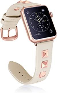 WHLIHUSU Leather Studded Band Compatible with Apple Watch Band 38mm 40mm 42mm 44mm S/M M/L, Genuine Leather Bling Dressy Designer Replacement Strap Compatible with Watch Band Series 5 4 3 2 1