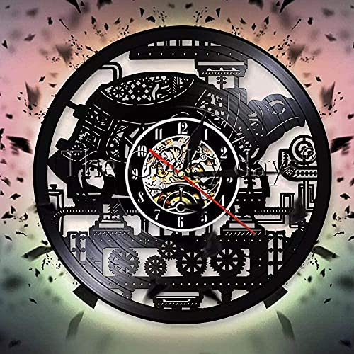 XYLLYT Tortuga Disco de Vinilo Reloj de Pared Punk Tortuga Reloj de Pared decoración Engranaje decoración decoración Reloj de Pared Reloj de Pulsera Amante de los Animales Regalo-Ninguno