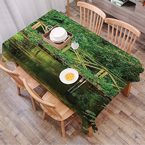 Rechteck Tischdecke140 x 200 cm,Apartment-Dekor, kleine Brücke mit niedlichen Blumen über klaren Bach i,Couchtisch Tischdecke Gartentischdecke, Mehrweg, Abwaschbar Küchentischabdeckung für Speisetisch