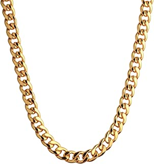 18K Gold Plated Necklace, Men Jewelry 10MM Wide Hip Hop Turnover Chain Necklace, Stainless Steel 19