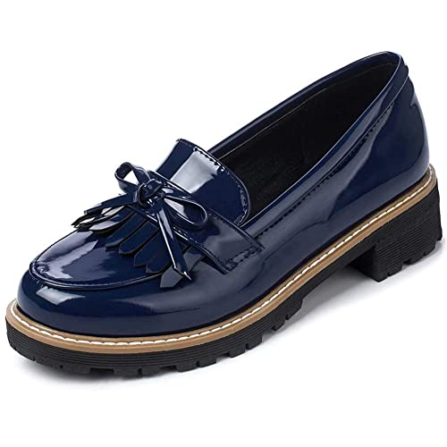 DecoStain Womens Patent Leather Flat Loafers Casual Ladies Fringe Tassel  Work School Shoes