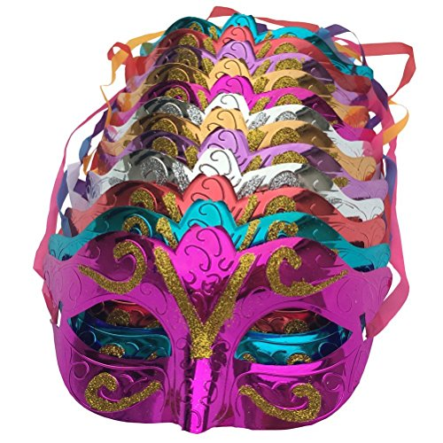 Cozyhoma Pack van 12, Goud Glanzend Plated Party Masker Bruiloft Props Masquerade Mardi Gras Masker Halloween Party Half Gezichtsmasker Patriottische Carnaval Decoratie