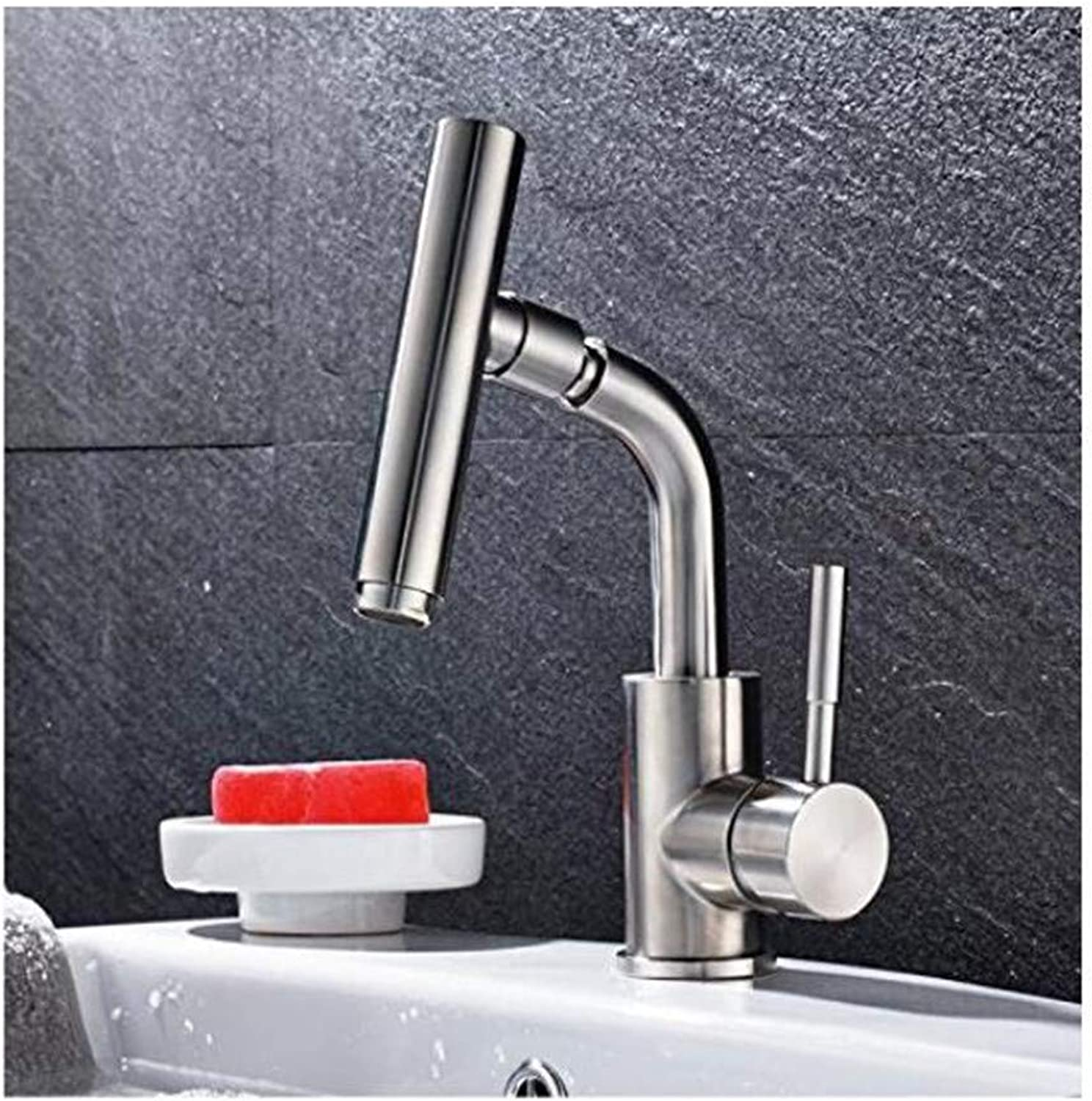 Faucet Kitchen Bathroom Retro Mixer Faucet Nickel Brushed Stainless Steel 360 Degree redating Spout Bathroom Sink Faucet Single Handle Mixer Tap Deck Mounted