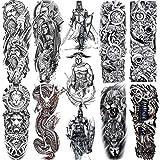 11 Sheets NEZAR 3D Black Gladiator Full Arm Temporary Tattoo Sleeves For Men Women Kids Large Knight Cool Warrior Tatoo Paper Waterproof Dragon Lion Pirate Dead Skull Fake Tattoos Sticker God Of War