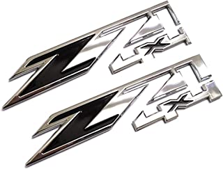2pcs Z71 4x4 Emblems Badges Replacement for GMC Chevy Silverado Sierra Tahoe Suburban 1500 2500hd 3500hd Decal (Chrome Black)