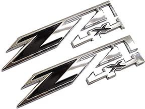 2pcs Z71 4x4 Emblems Badges Replacement for GMC Chevy Silverado Sierra Tahoe Suburban 1500 2500hd 3500hd Decal (Chrome Black)