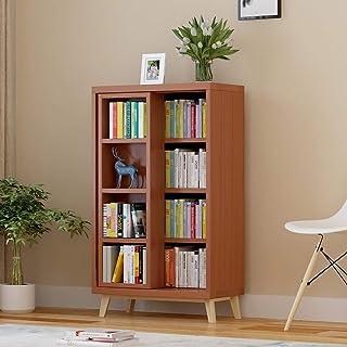 WWWANG Puerta corredera librería de Madera Estante for Libros gabinete de información de Archivo contenedor de Almacenamiento estantería estantería estantería Doble (Color : D)