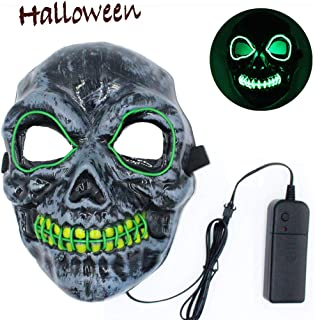 Autbye Halloween Mask Scary Skull Mask LED Light Up 4 Modes Lighting Skeleton Masquerade Mask for Cosplay Festival Party (Type2)