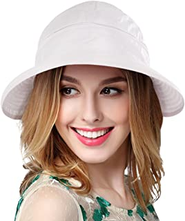Eqoba Women's Outdoors Spring/Summer 2 in 1 Adjustable Velcro Bowtie Visor Hat