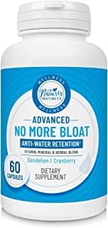 Nature's Instincts No More Bloat Herbal Supplement for Water Retention with Dandelion, Green Tea & Apple Cider Vinegar, 60Count (Packaging May Vary)