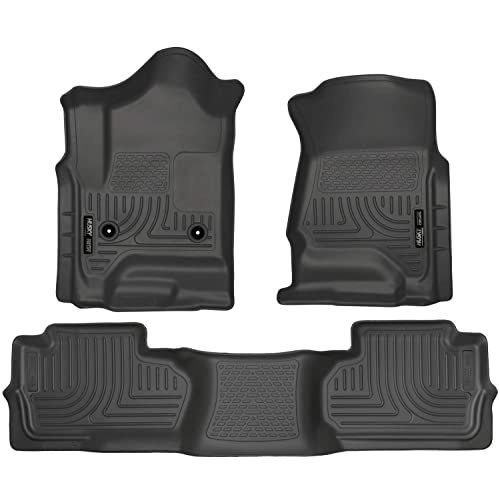 Husky Liners 98241 Black Weatherbeater Front & 2nd Seat Floor Liners Fits 2014-2018 Chevrolet-GMC Silverado/Sierra 1500 Double Cab, 2019 Chevrolet-GMC Silverado/Sierra 1500 Legacy, 2015-2019 Chevrolet Silverado 2500/3500 HD Double Cab