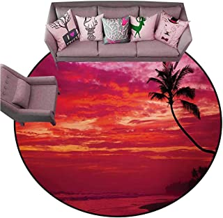 Kitchen Mat Ocean,Sunset View from a Tropical Island Beach with Silhouette of Palm Tree on The Shore Art Print,Red Diameter 48