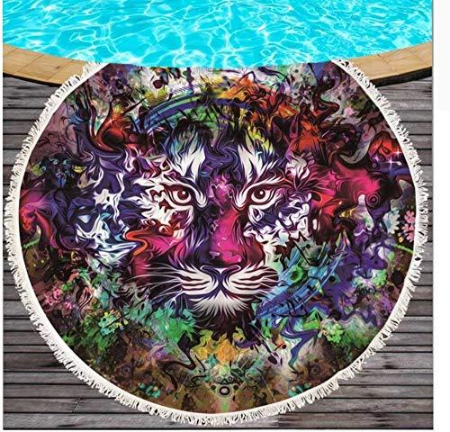 Vanzelu Peace by Art Rundes Strandtuch groß für Erwachsene Tiger bedrucktes Mikrofasertuch Quaste schwarz weiße Decke Yoga Matte Picknick Matte 150x150cm Outdoor