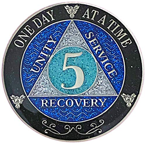 5 Year AA Recovery Silver Color Plated Glitter Medallion, Black Rainbow, Blue, Silver Glitter Coin, Epoxy Covered (AA 5 Year Glitter Medallion)