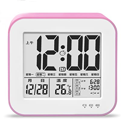 CHJ despertadores Reloj de alarma LED minimalista moderno Pantalla grande Temperatura de la fecha Reloj de
