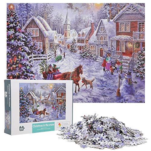 YOUTHINK Puzzle da 1000 Pezzi per Adulti, Puzzle da Babbo Natale Puzzle da 1000 Pezzi per assemblare Il Regalo del Giocattolo Decorazione Natalizia (29,5 x 19,7 Pollici)(B)