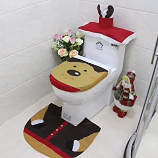 AIRICH Christmas Decor Bathroom Products Happy Santa Snowman Toilet Seat Cover and Rug Set for Bathroom, Novelty Bathroom Decorate Accessories Santa Toilet Seat Cover Rug Set