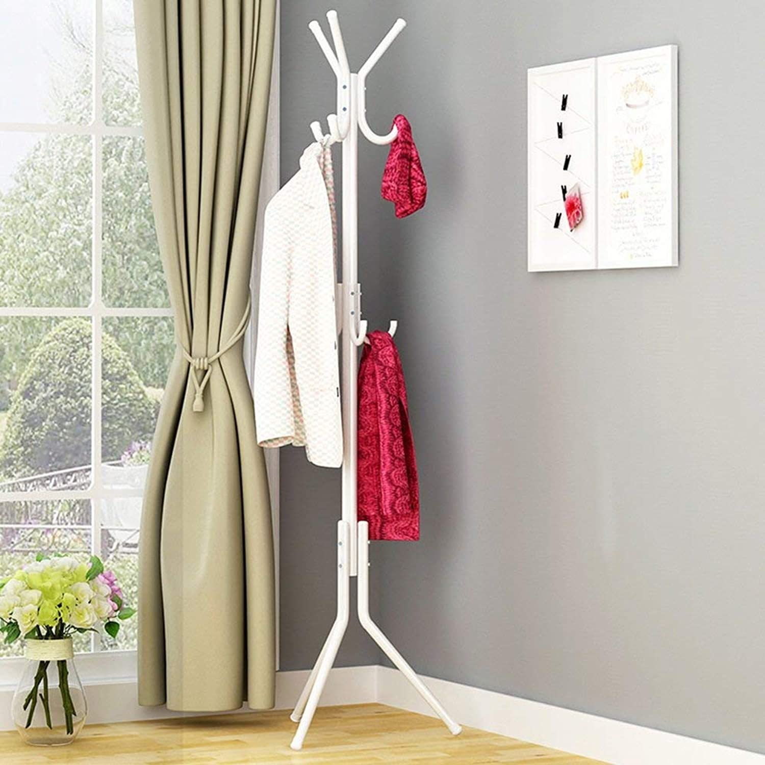 DYR 9 Metal Hooks hat Hanger Clothes Stand Clothes Hanger Standing Bag Standing Rack for Bathroom Living Room (color  White)
