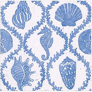Caspari Seychelles Paper Cocktail Napkins in Blue - Two Packs of 20